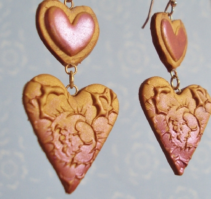 Gold and Red Double Heart Earrings Valentines Day