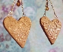 Gold and Copper Sparkle Dangle Heart Earrings