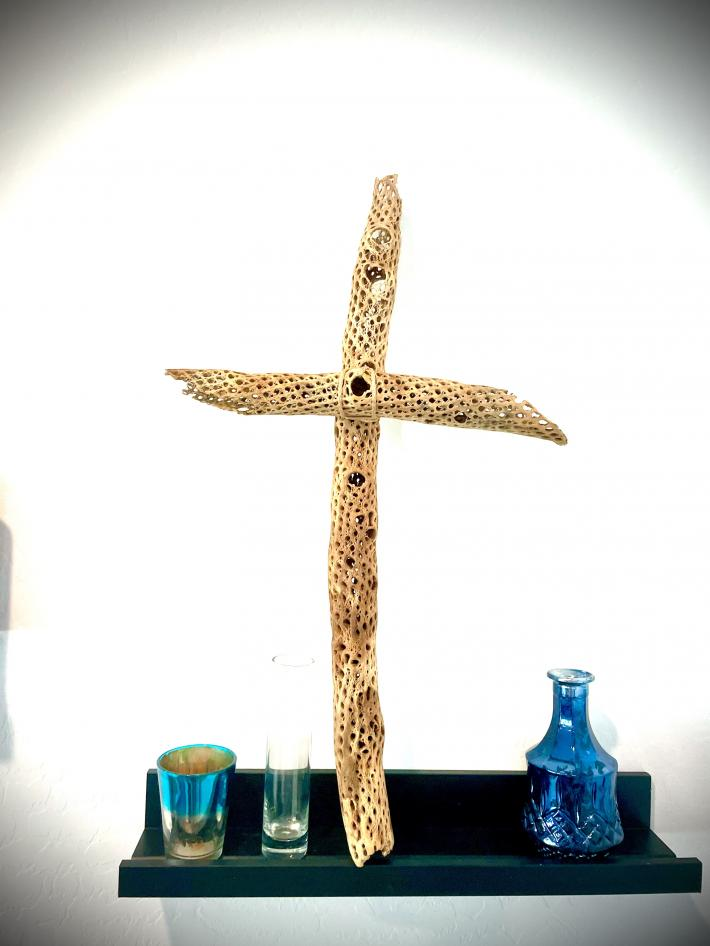 Large Cactus Wood Cross