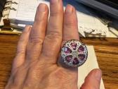 Czech Glass Button Ring