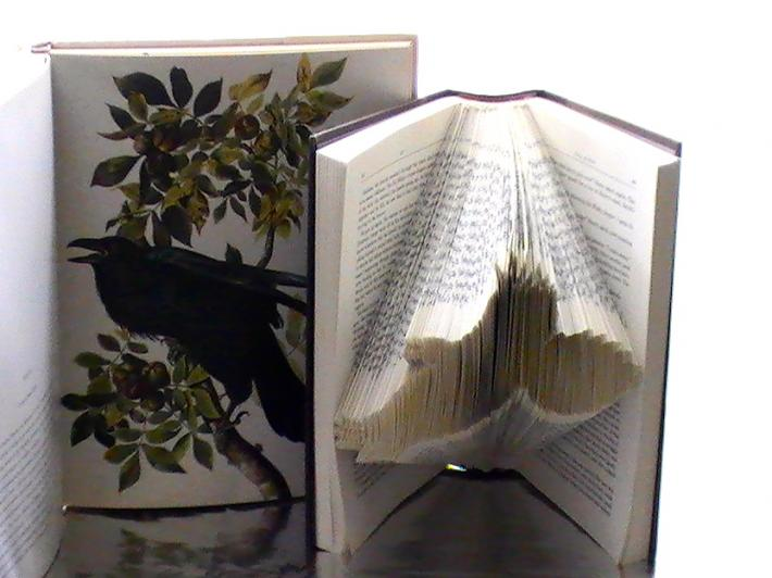 Crow Book Origami Crow In Flight Folded Book Art