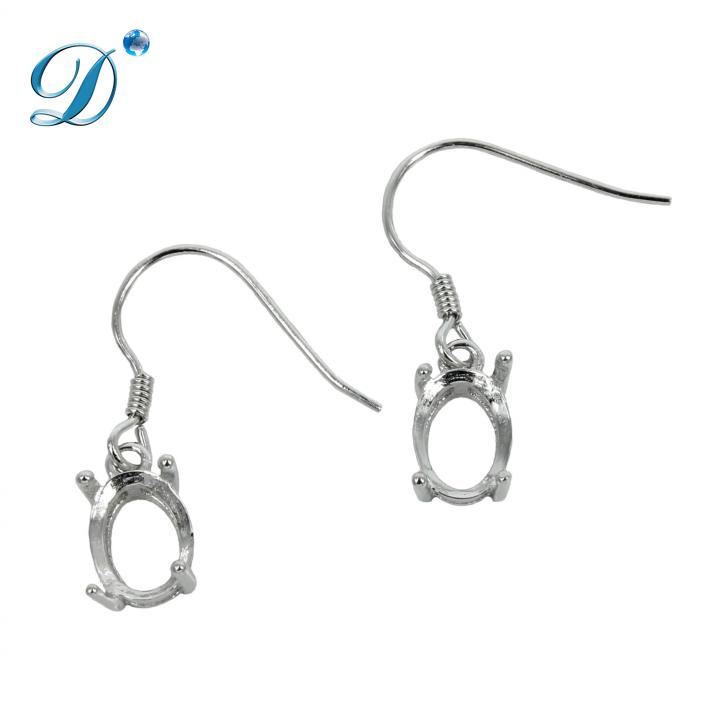 Ear Wires with Oval Basket Setting in Sterling Silver 6x8mm