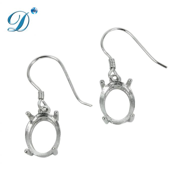 Ear Wires with Oval Basket Setting in Sterling Silver 8x10mm