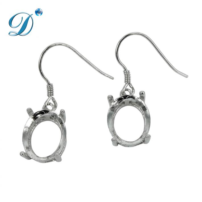 Ear Wires with Oval Basket Setting in Sterling Silver 9x11mm
