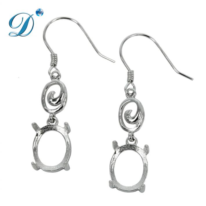 Ear Wires with Oval Basket Setting and Swirl Element in Sterling Silver 8x10mm