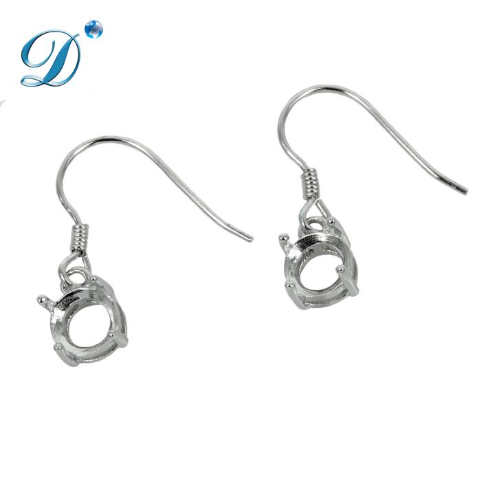 Ear Wires with Round Basket Setting in Sterling Silver 6mm