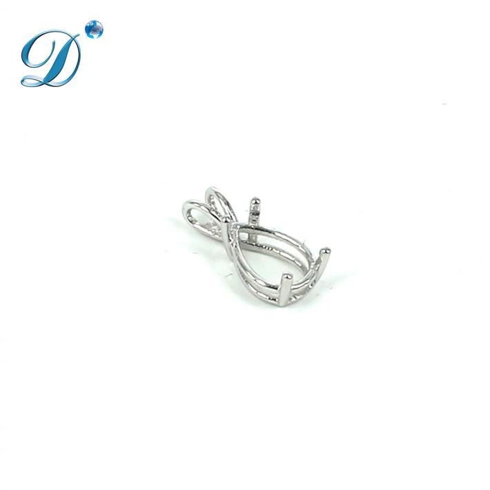 Basket Pendant with Deep Pear Mounting in Sterling Silver 8x12mm