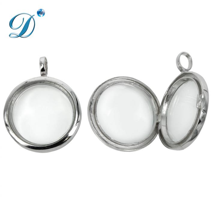 Round Glass Locket Pendant with Soldered Loop in Sterling Silver 20x20mm