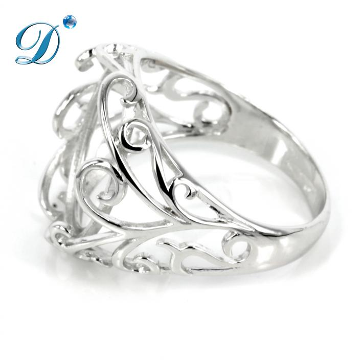 Filigree style ring with bezel mounting in sterling silver 12x16mm