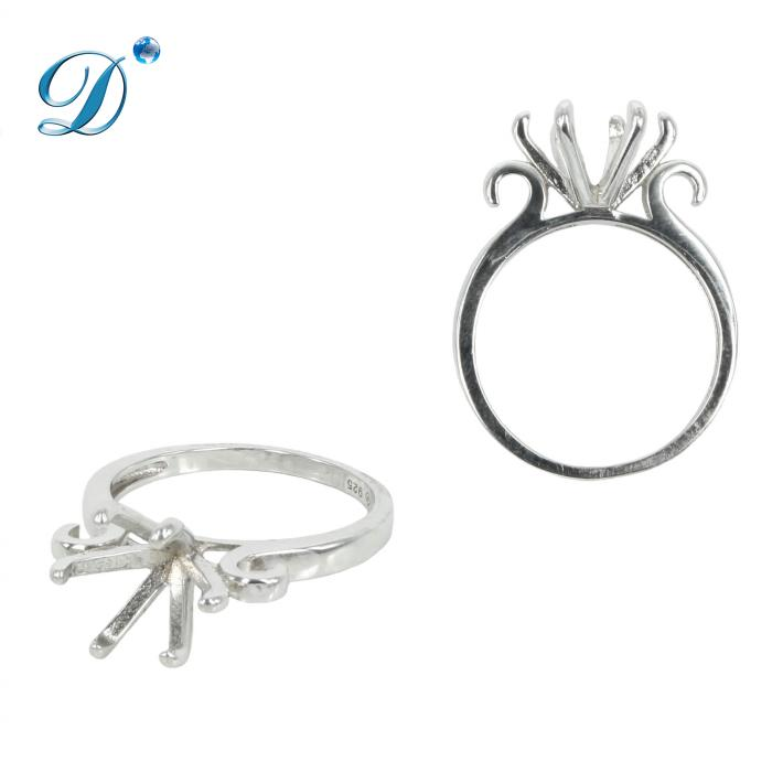 Solitaire Ring with Six Prongs for 10mm Stones in Sterling Silver