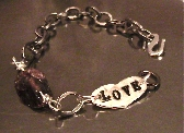 LOVE Heart Hand Stamped Bracelet with Rough Garnet