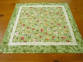 Green Floral Quilted Table Topper