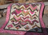 Pink and Green Batik Quilt