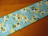Quilted Table Runner Floral Aqua