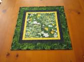 Handmade Quilted Table Topper Yellow Birds