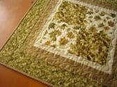 Table Topper Quilted Square Gold and Green Leaves