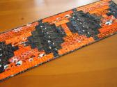 Halloween Quilted Table Runner Handmade Orange and Black Table Decor