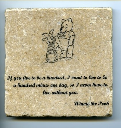 Winnie the Pooh Quote Wall Art Tumbled Tile Coaster Natural Stone Piglet