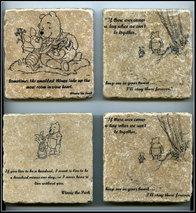 Winnie the pooh quote wall art tumbled tile coaster natural stone friends forever on handmade - Forever tile and stone ...