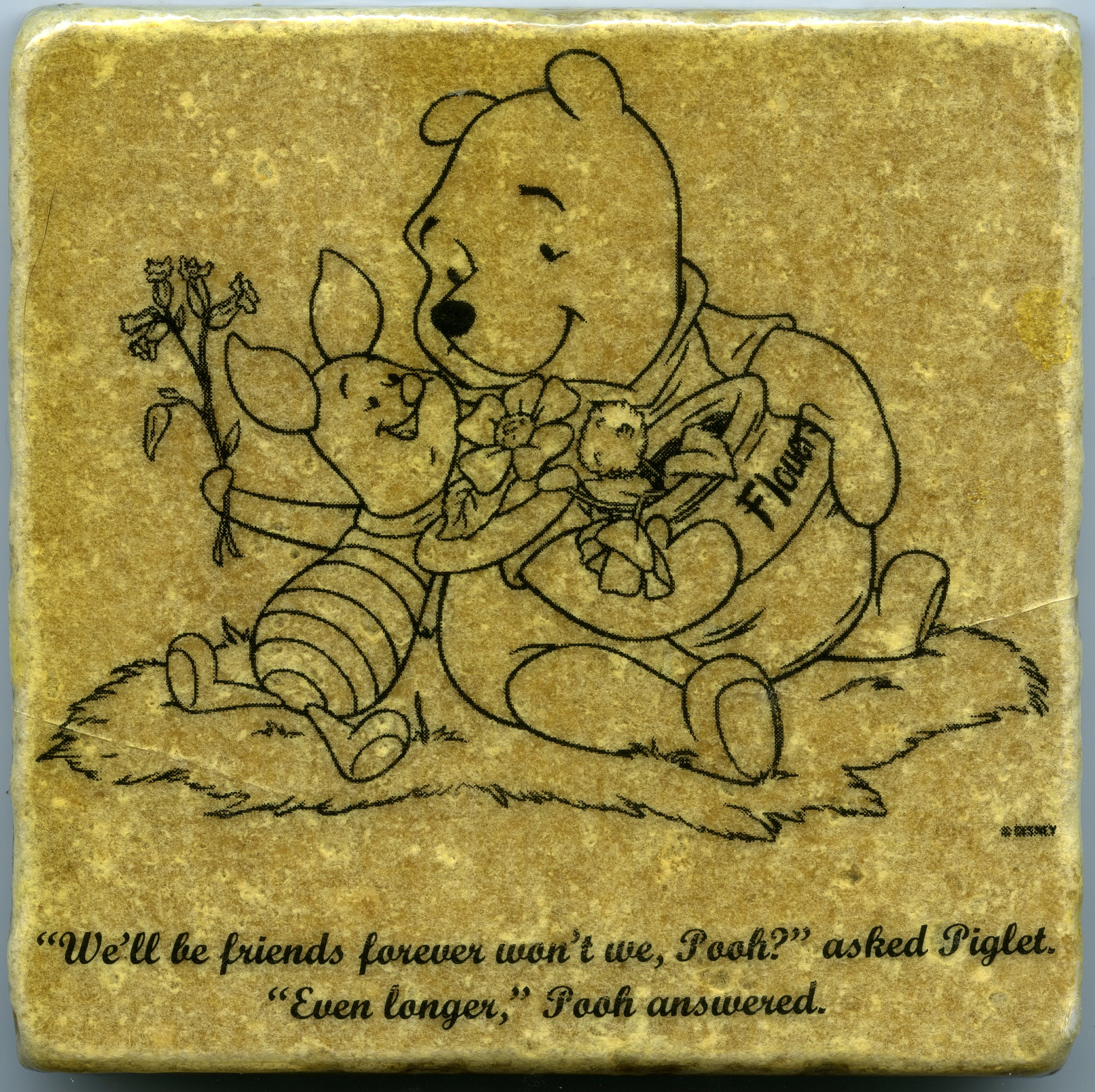 Winnie the Pooh Quote Wall Art Tumbled Tile Coaster Natural Stone ...