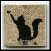 Sweet Kitty and Butterfly Magnet on 2 in x 2 in Ceramic Tile New Art Fridge