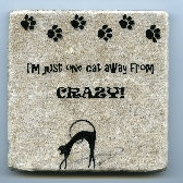 Just One Cat Away From Crazy Tumbled Tile Natural Stone Coaster Wall Art