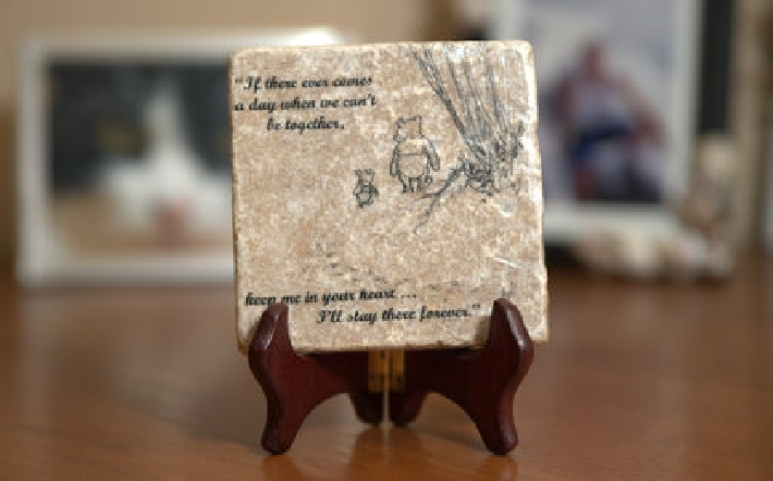 Winnie the Pooh Quote Wall Art Tumbled Tile Coaster Natural Stone Piglet If There Ever Comes No 2