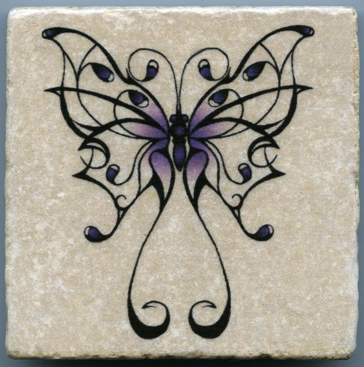 Fancy Purple Butterfly on 4 in x 4 in Stone Tile Wall Art Decor Coaster