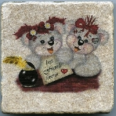Two Sweet Bear Buddies Best Friends Forever Tumbled Tile Natural Stone Color