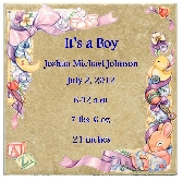 Customized Baby Announcement on 6 in x 6 in Ceramic Tile Personalized Its a Boy