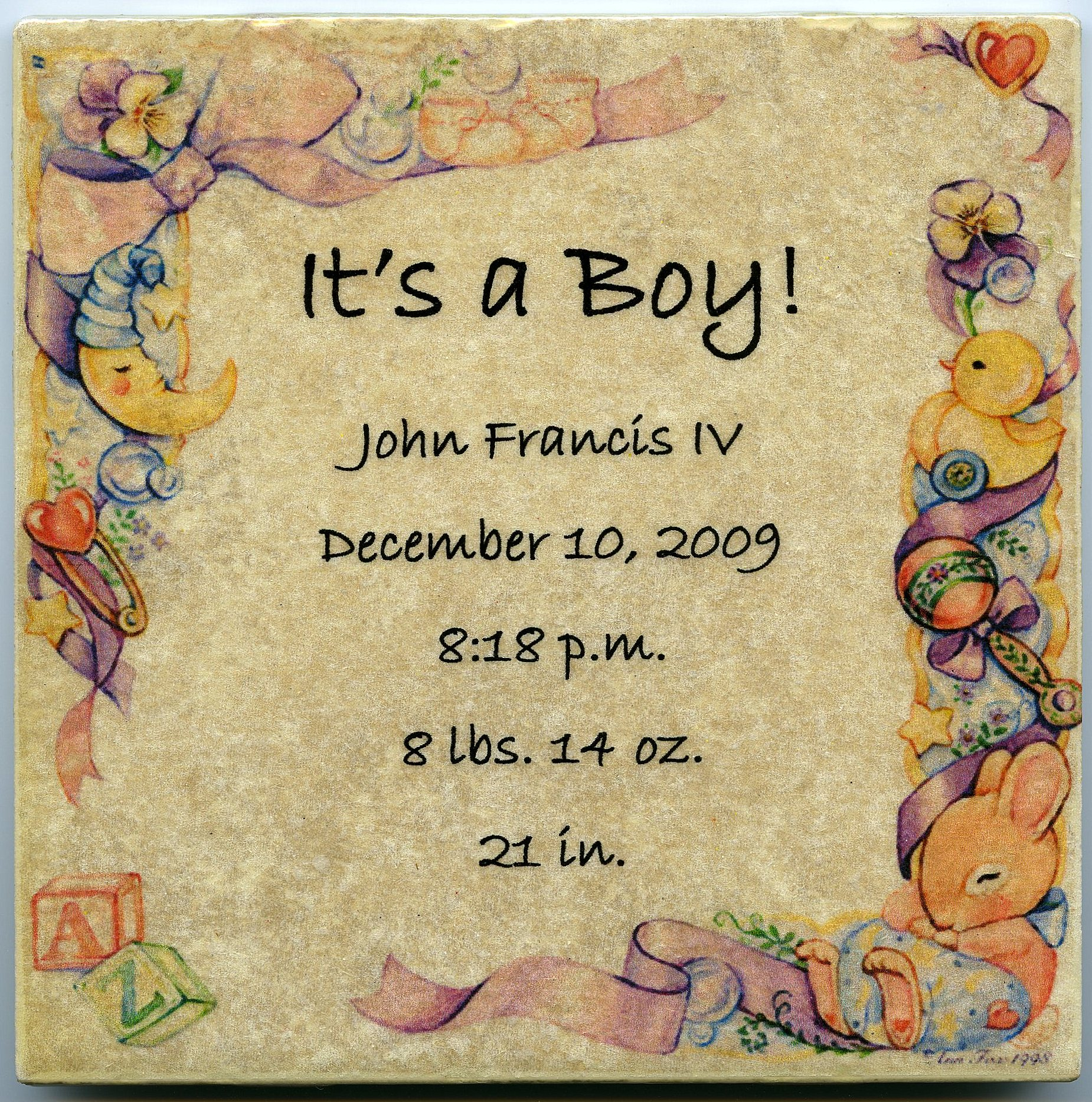 Customized baby announcement on 6 x 6 in ceramic tile personalized customized baby announcement on 6 x 6 in ceramic tile personalized its a boy dailygadgetfo Images