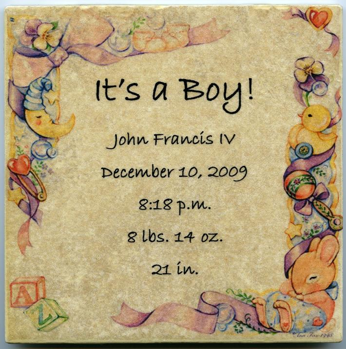 Customized Baby Announcement on 6 x 6 in Ceramic Tile Personalized Its a Girl