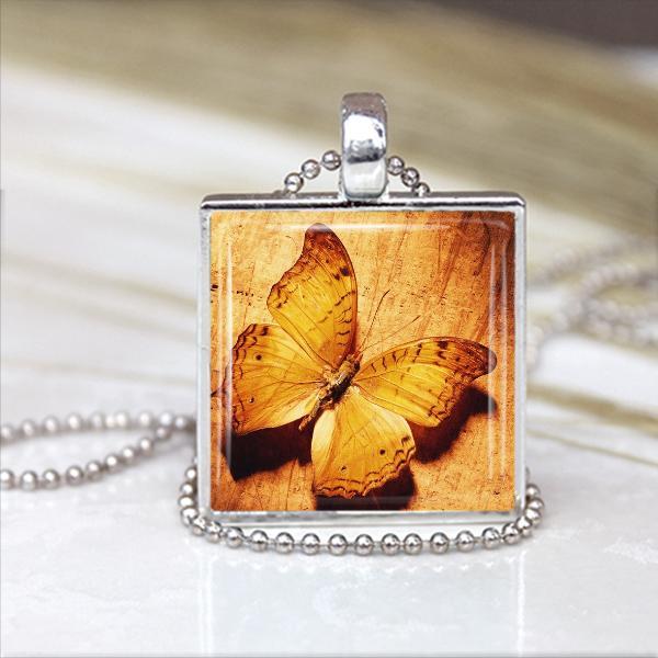 Beautiful Butterfly Glass Tile Pendant in Silver Bezel Setting 1 in x 1 in