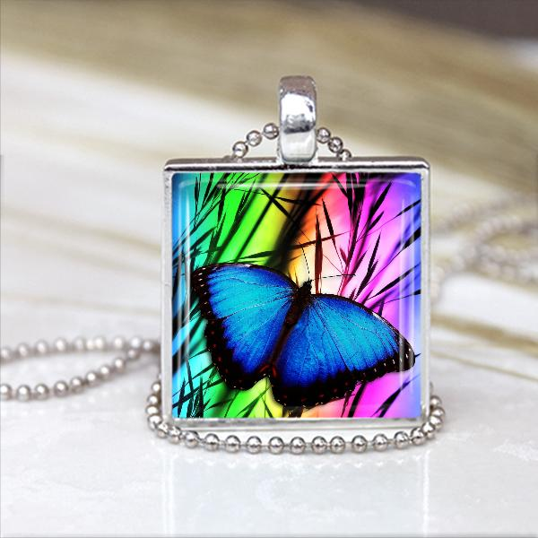 Beautiful Butterfly Glass Tile Pendant in Silver Bezel Setting 1 in x 1 in