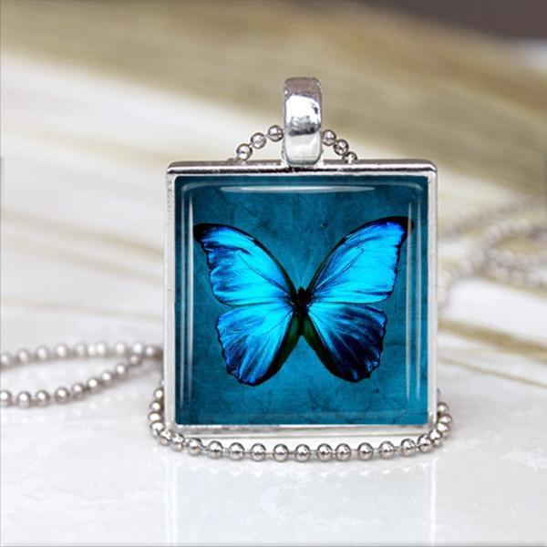 Purple Butterfly Pendant Glass Tile 1 inch x 1 inch in Silver Bezel Setting