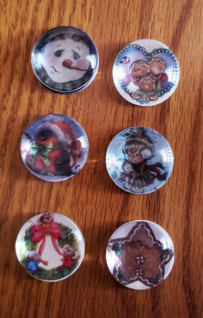 Christmas Magnets Set of Six Snowman Gingerbread Kitty Cat
