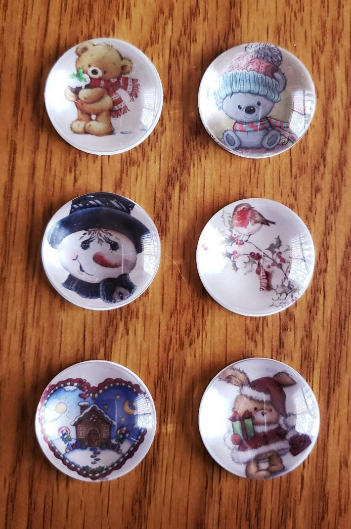 Set of Six Christmas Magnets Snowmen Rabbit Bird