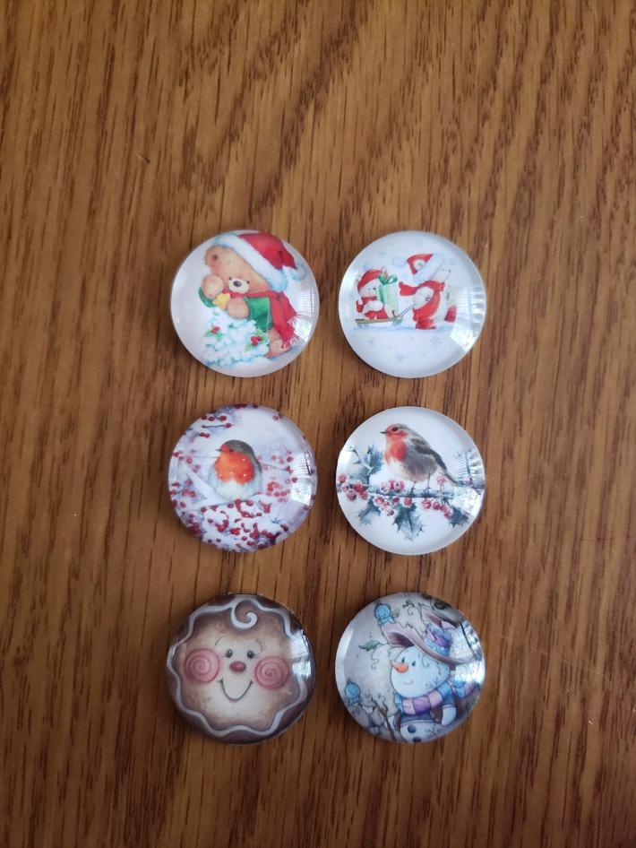 Set of Six 1 inch Round Magnets Teddy Bear Birds Snowman