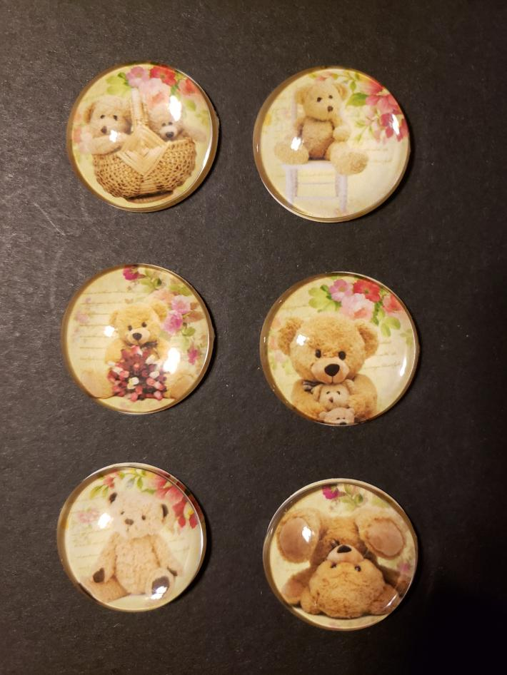 Set of Six Teddy Bear Magnets 1 inch Round Glass