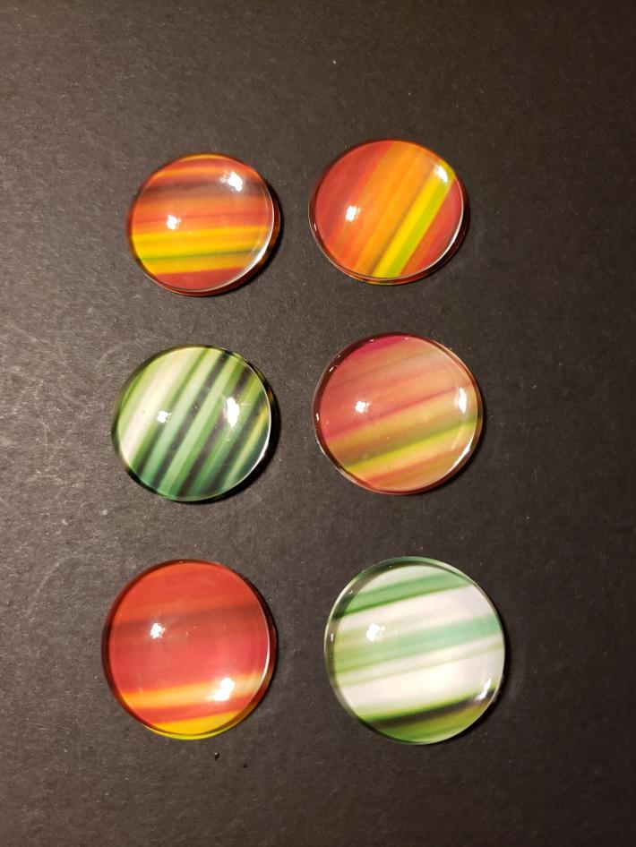 Colorful Set of Six Magnets for Your Fridge