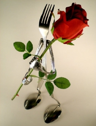 Metal Flower Holder Made from Forks