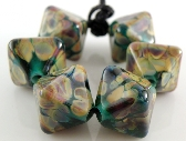 Teal Raku Handmade Lampwork Crystal Beads Set of 6