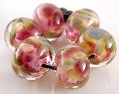 Encased Rainbow Handmade Lampwork Rounds Set of 6 Beads