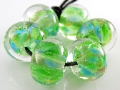 Encased Spring Greens Handmade Lampwork Rounds Set of 6 Beads