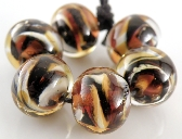 Tiger Rounds Handmade Lampwork Glass Beads Set of 6