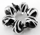 Zebra Rounds Handmade Lampwork Glass Beads Set of 6