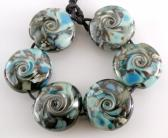 Stormy Shore Lentils Handmade Lampwork Glass Beads Set of 6