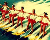 16x20 photograph retro WATER SKI GIRLS beach art vintage skiing Florida tourist attraction photo print red yellow water ski