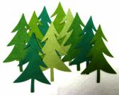 Wool blend felt evergreen trees die cut appliques