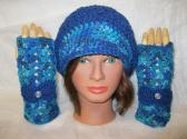 Women and  Teen Girl Slouchy Brimmed Hat and Fingerless Glove Set Handmade Crochet Winter Accessory